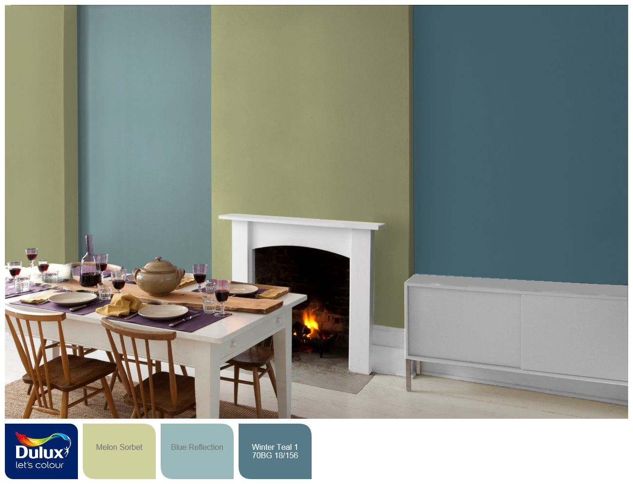Colours that go with melon sorbet blue reflection melon sorbet winter teal 1 dulux for Dulux colour schemes for living rooms