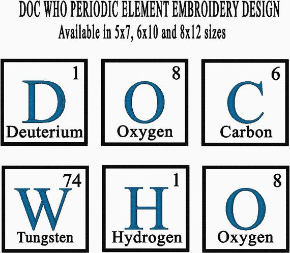 Doc who periodic table element embroidery design available in doc who periodic table element embroidery design available in urtaz Image collections
