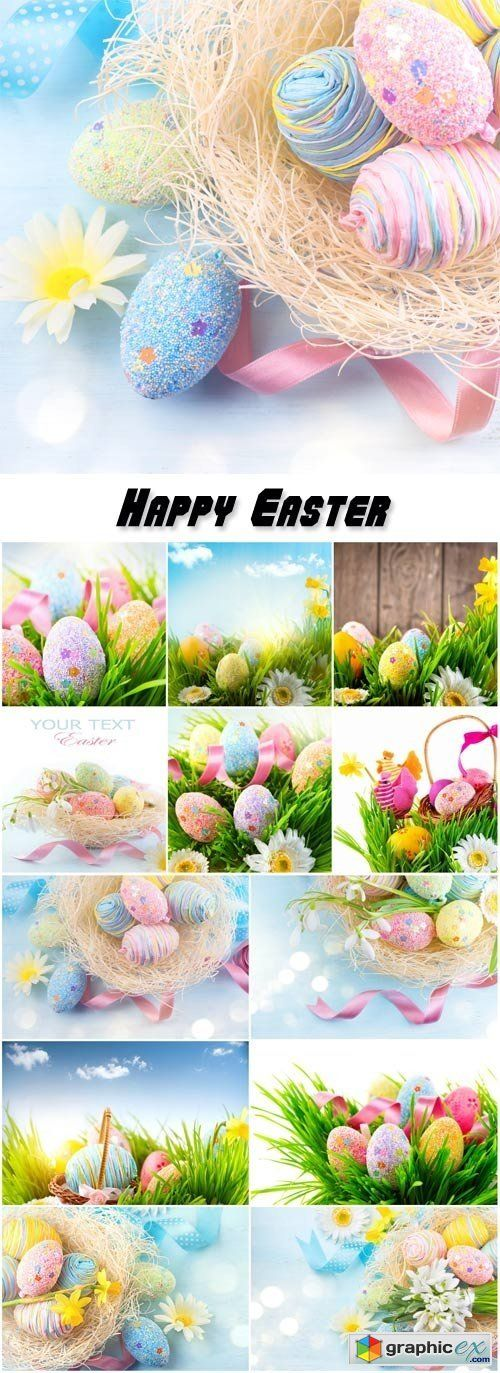 Easter background beautiful colorful eggs in spring grass  stock images