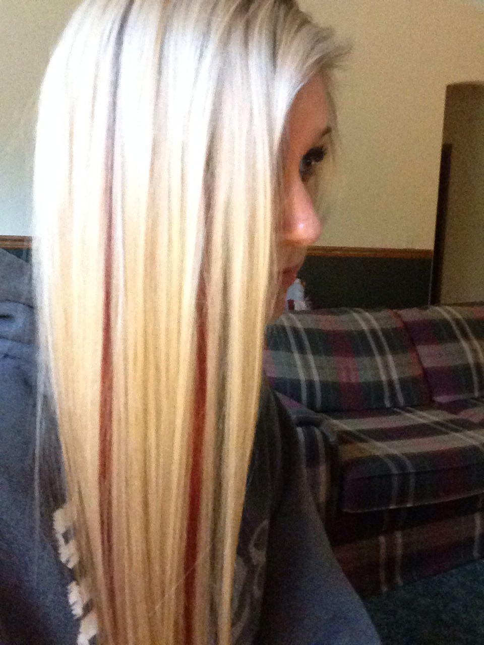 My Hair Blonde Hair With Red Peekaboos Platinum Blonde Hair Hair Blonde Hair