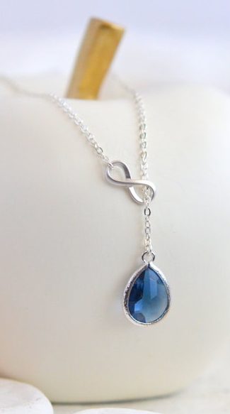 Sapphire Blue Teadrop And Silver Infinity Lariat Necklace Lariat Necklace Sapphire Earrings Jewelry Sapphire Necklace