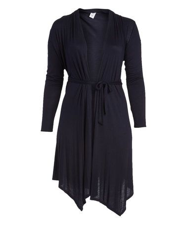 Look at this #zulilyfind! Dark Navy Belted Cardigan - Plus ...