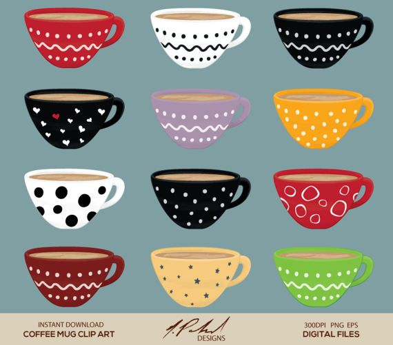 Coffee Mug Digital Clip Art Digital File Cute Coffee Cup Clipart
