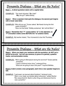 Dynamite Dialogue Rule And Example Handout Quotation Mark Writing Essay