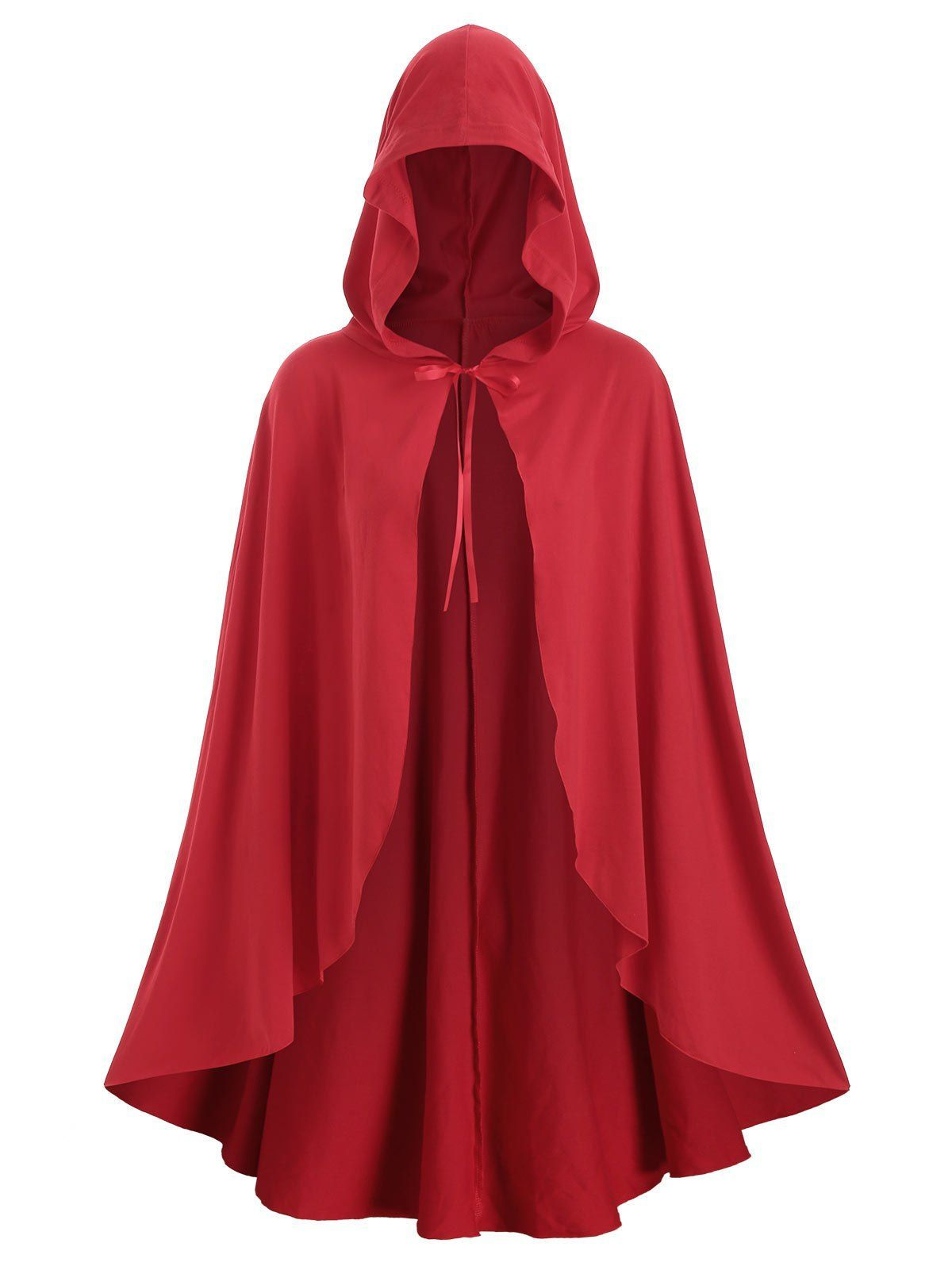 Photo of Plus Size Christmas Hooded Tie Front Cape Coat