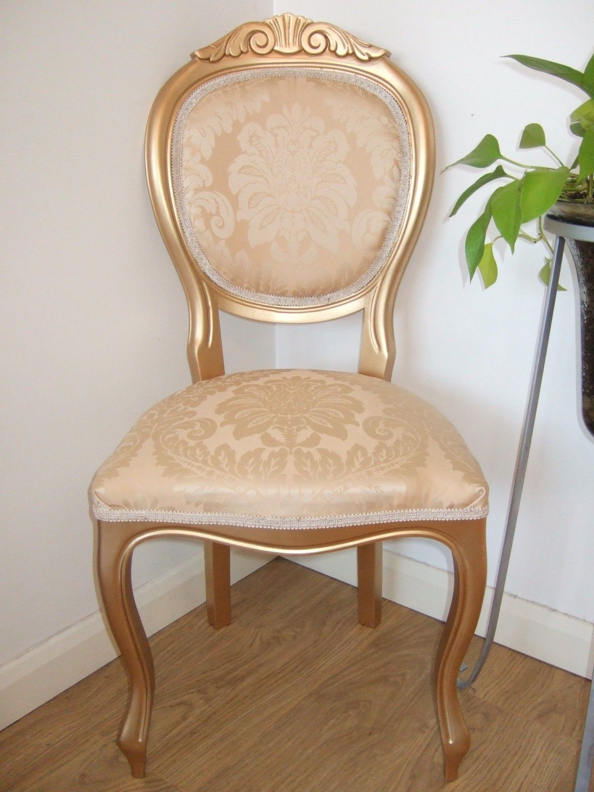 round back dining chair. Shimmery Gold French/Italian Round Back Dining Chair With Golden Damask Fabric Added A