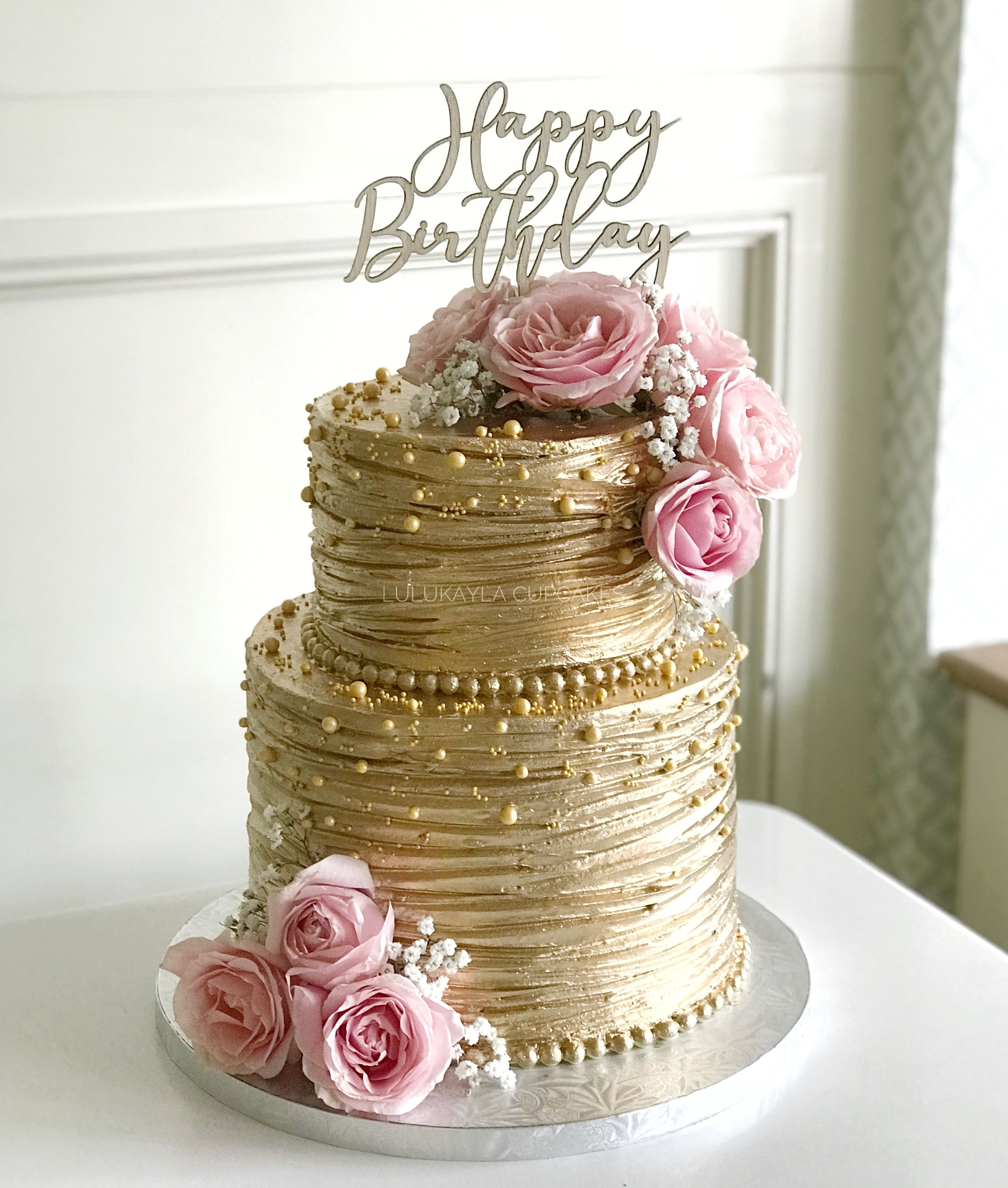 Remarkable Gold Cake With Images Elegant Birthday Cakes Buttercream Cake Funny Birthday Cards Online Alyptdamsfinfo