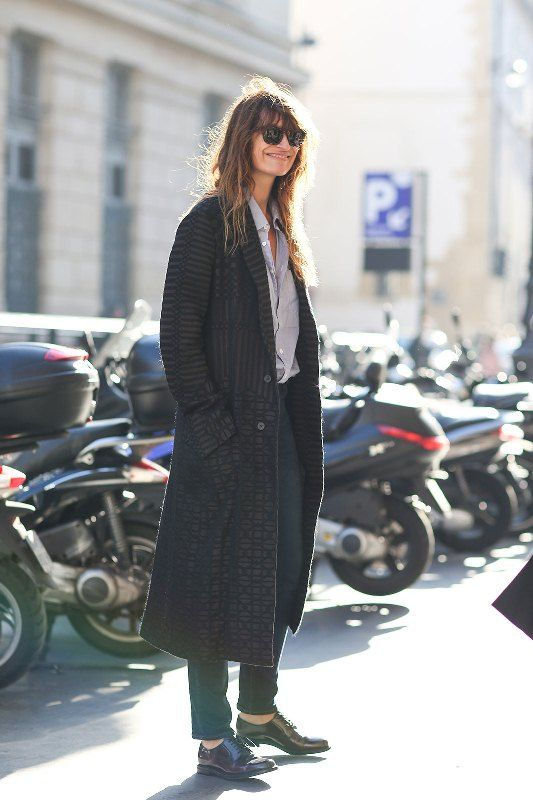Long coat, skinny trousers and oxfords