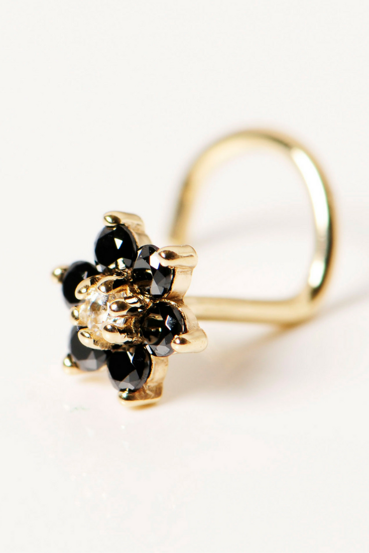 Nose piercing bump pus  Solid KT Yellow Gold Black and Clear Cubic Zirconia Flower Nose