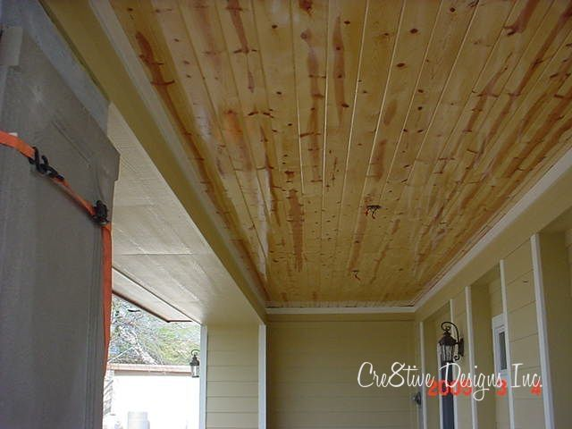 knotty pine tongue groove ceiling | on the covered patios, we had