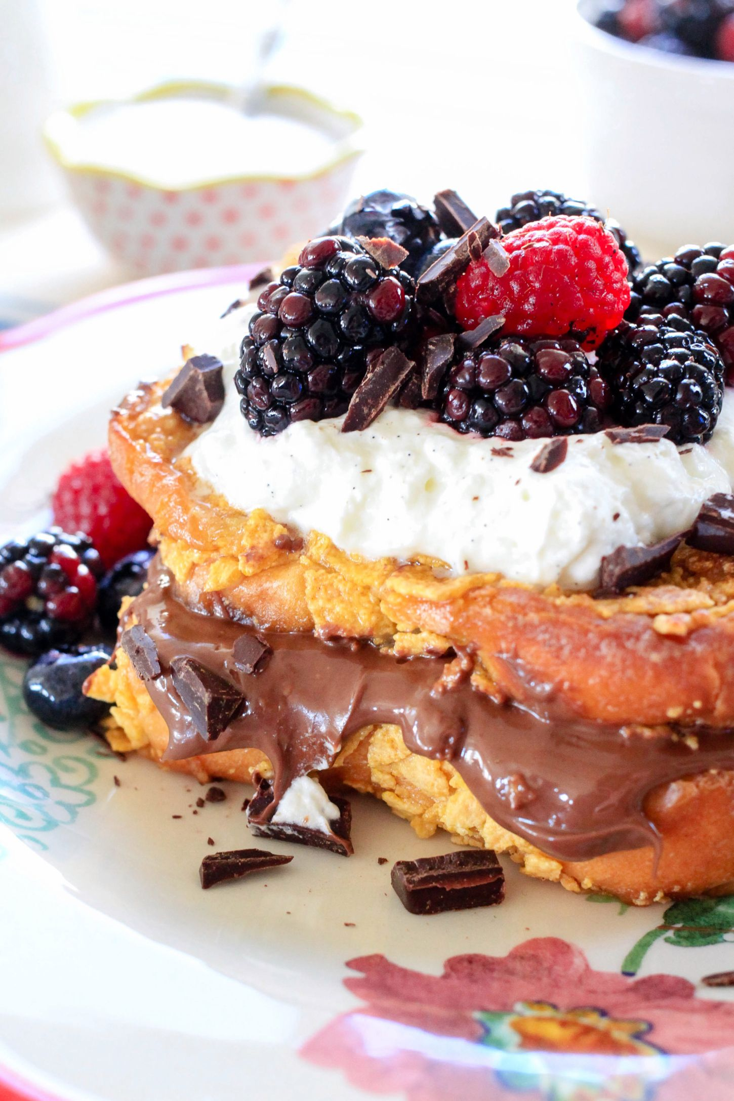 Nutella-Stuffed Crunchy French Toast with Berries