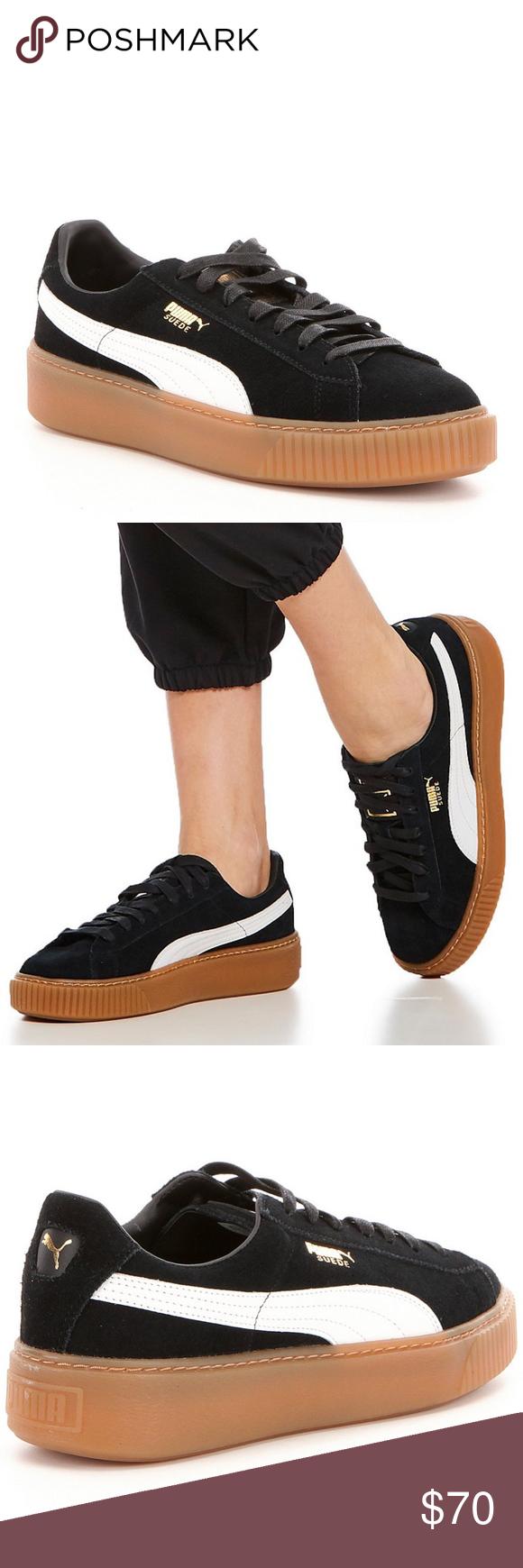 low priced f2b3a 49b62 Puma Shoes | Puma Suede Platform Core Black White Gum Bottom ...