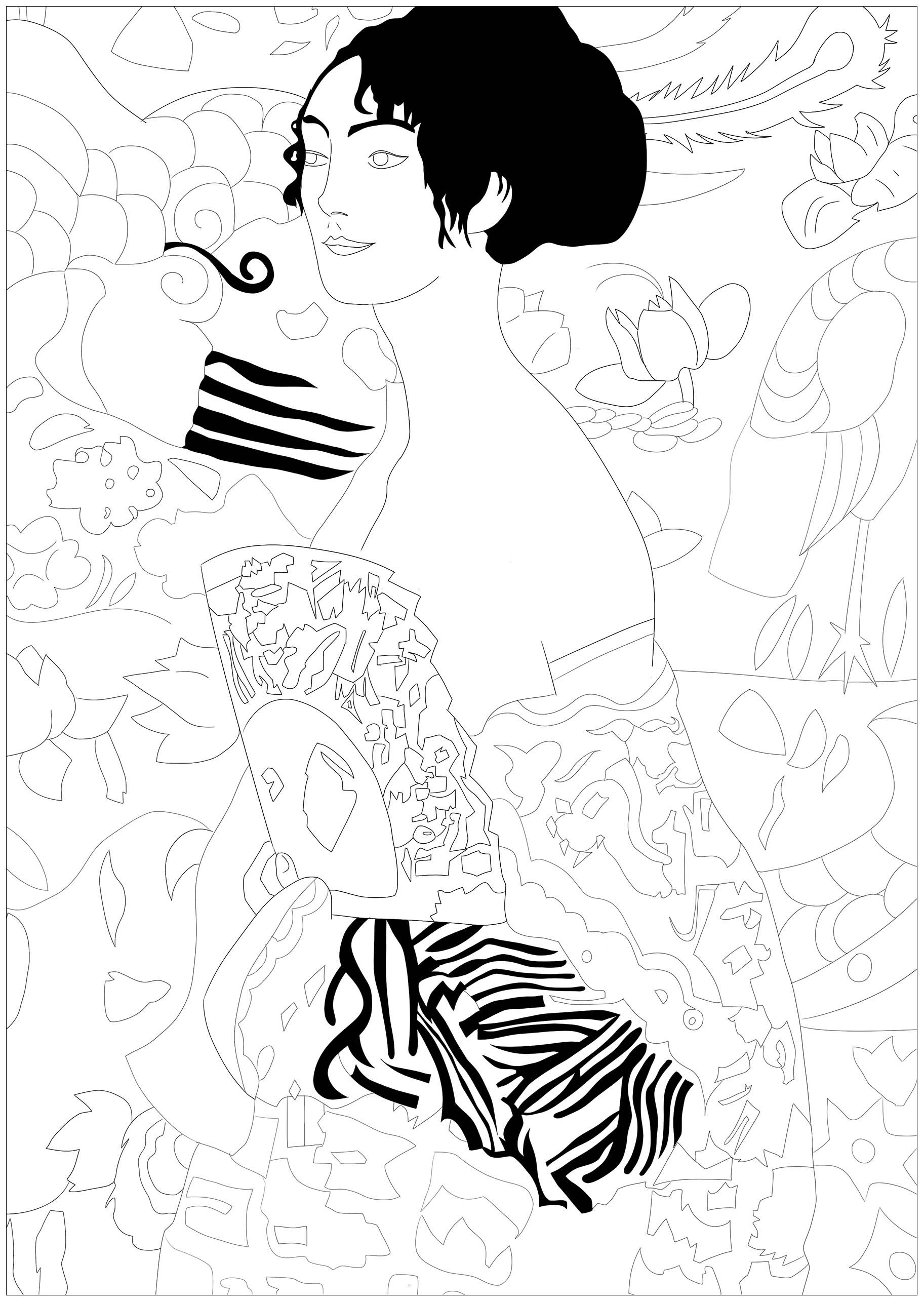Gustav Klimt Lady With Fan Jim Masterpieces Coloring Pages For
