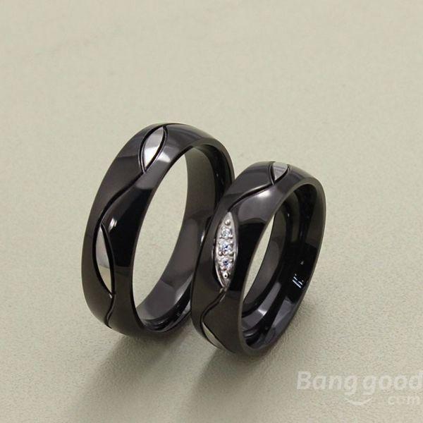 Elegant Titanium Steel Crystal Black Couple Finger Ring For Women Men at Banggood