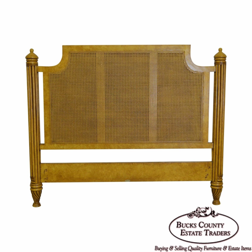 David Francis Faux Painted Tall Cane Back Headboard