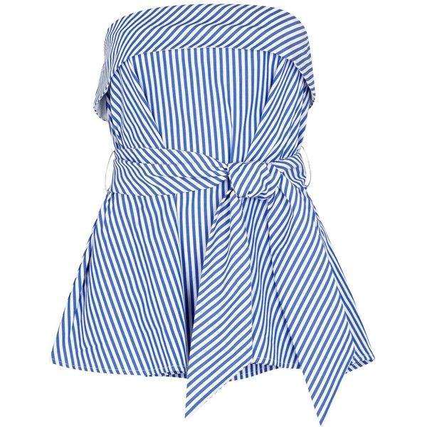 Womens Sleeveless Tops Finders Keepers Blow Your Mind Striped Cotton... (£120) ❤ liked on Polyvore featuring tops, blue sleeveless top, sleeveless tops, stripe top, finders keepers top and blue top