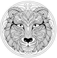 mandala with tiger head - 1 mit bildern | mandalas zum ausdrucken, mandala ausmalen, mandala