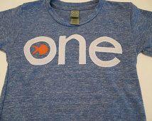 Blue and Orange Goldfish Tshirt Birthday shirt Customize colors Boys Girls Organic Blend Birthday Tee first second etc birthda