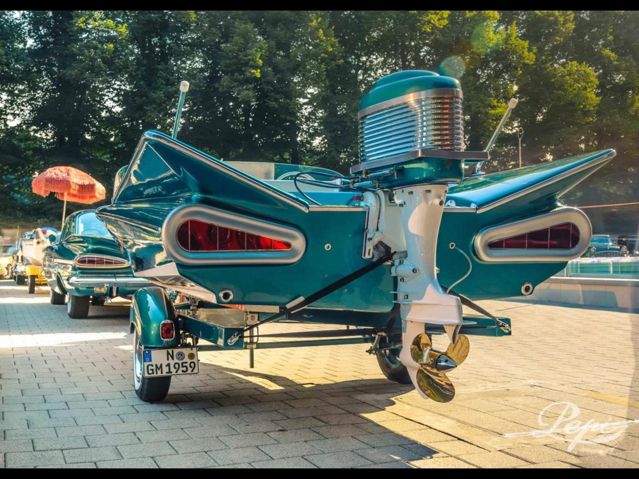 1959 Chevy Impala with matching motor boat : pics | Adrenaline ...