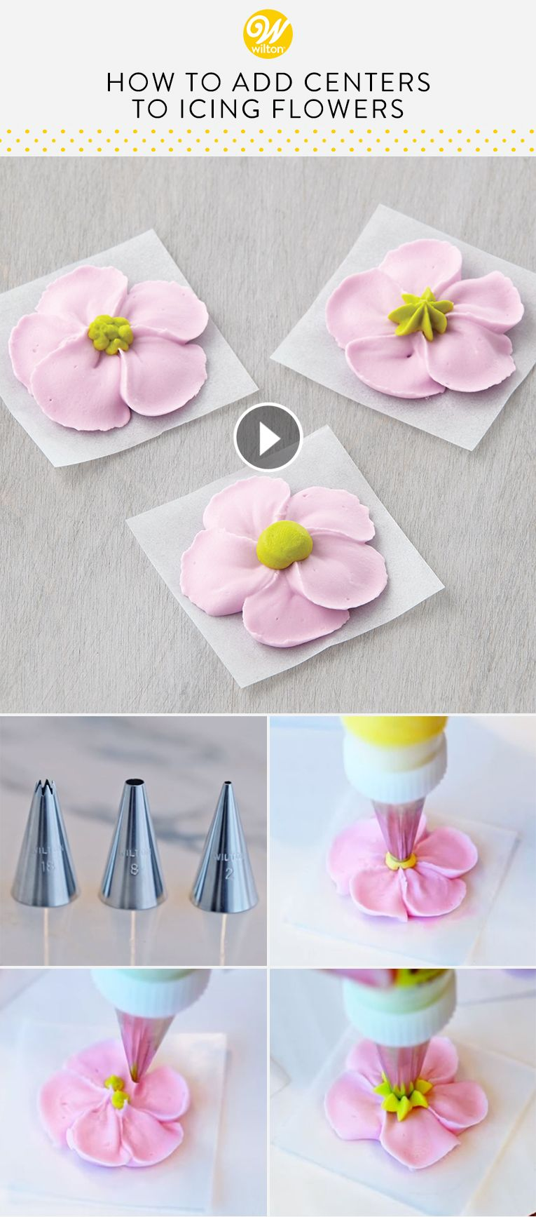 Watch this YouTube video and learn how to add a realistic touch to icing flowers using a round or star decorating tip! Icing flowers are perfect for dressing up cakes, cupcakes and other desserts. #wiltoncakes #youtube #howto #tutorial #video #videos #icingflowers #buttercreamflowers #pipingtips #homemade #petals #flowers #cakedecorating #cupcakedecorating #cookiedecorating #cakedecoratingvideos