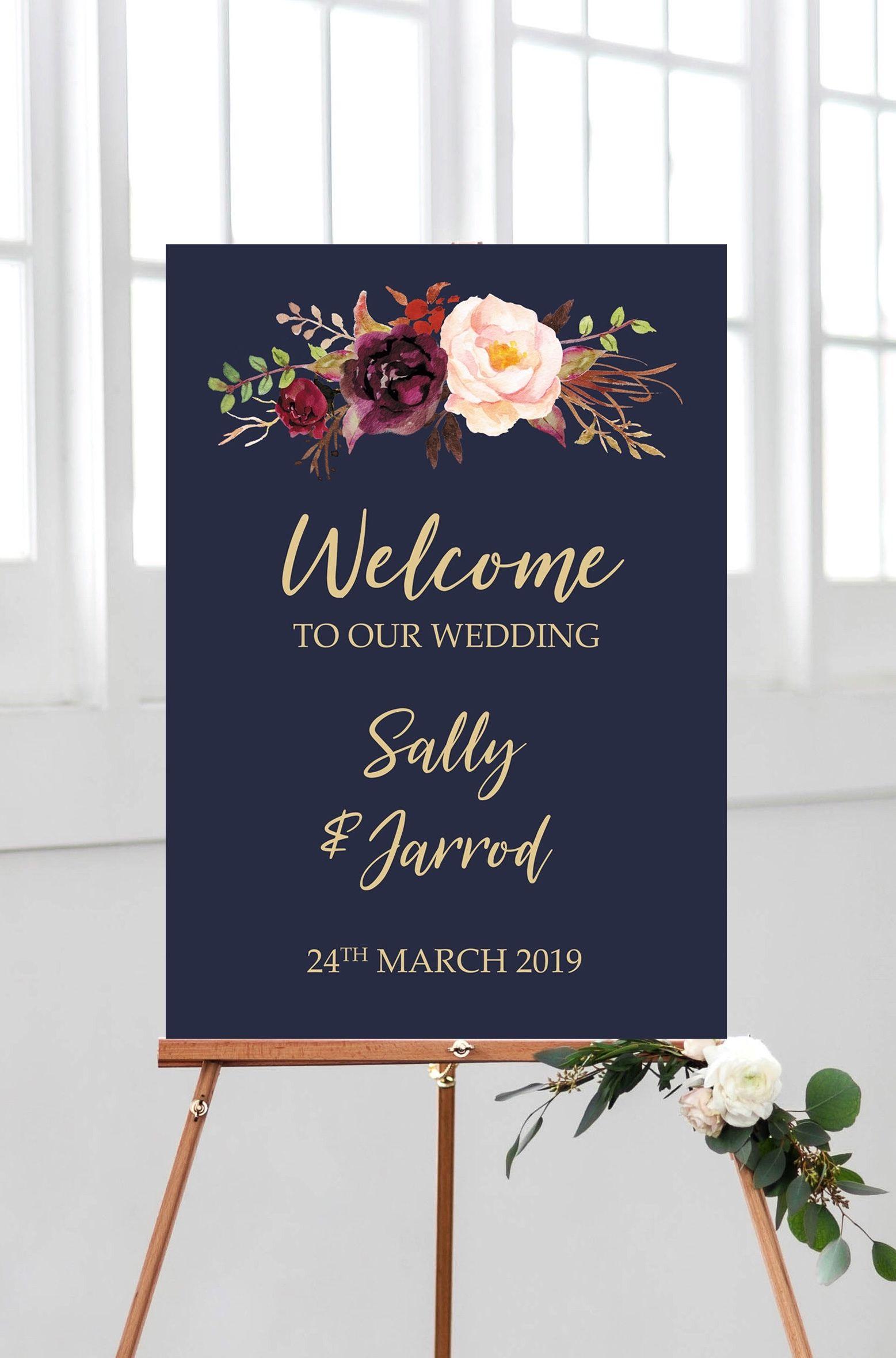 Navy Wedding Welcome Sign Printable Marsala Welcome Wedding