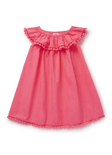 100% Cotton Dress. Woven dress with elasticated frill collar