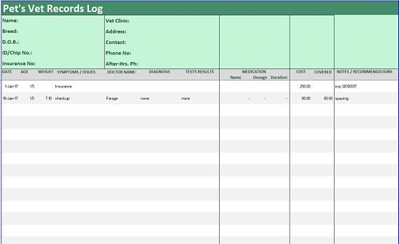 pet medical history tracker excel template  symptoms diary