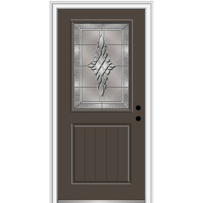 Verona Home Design Fibreglass Smooth 1 2 Lite 1 Panel Planked Single Entry Door Finish Brown Door Size 80 H X 32 W X 1 75 D Door Orientation L Wood Exterior Door Aluminum