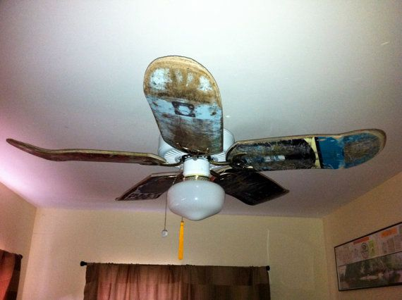Used Skateboard Deck Cieling Fan Blades By Decorestored On Etsy 125 00 For Nol S Room Or The Finished Basement S Skateboard Room Skateboard Decor Ceiling Fan