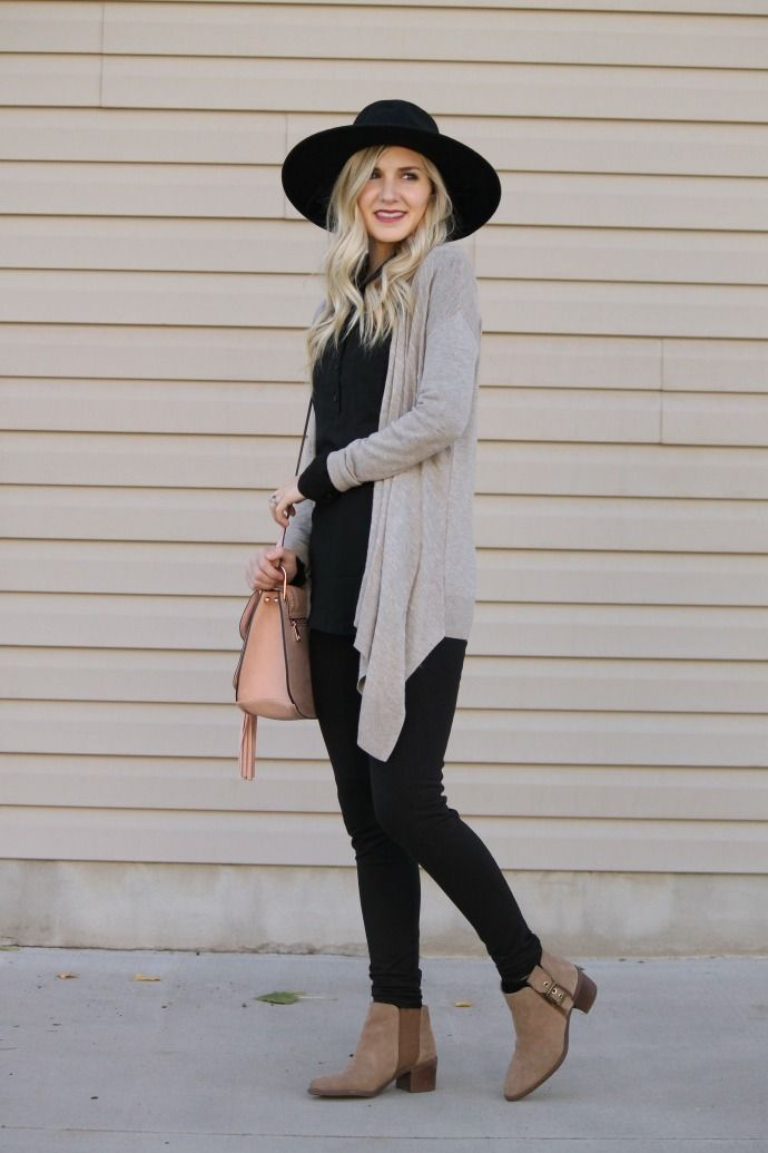 all black outfit, black oversized hat, tan cardigan, cross body ...