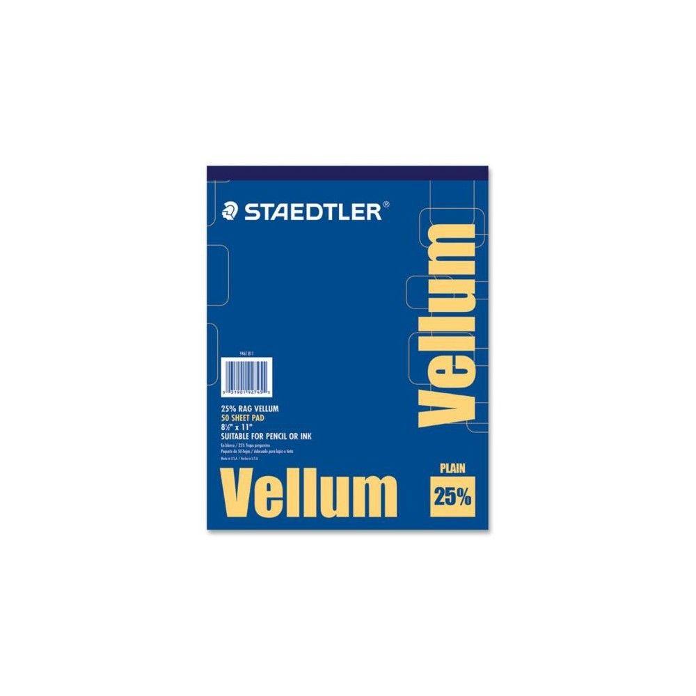 Staedtler Vellum Paper Pad Letter 8 1 2 X 11 16 Lb Basis