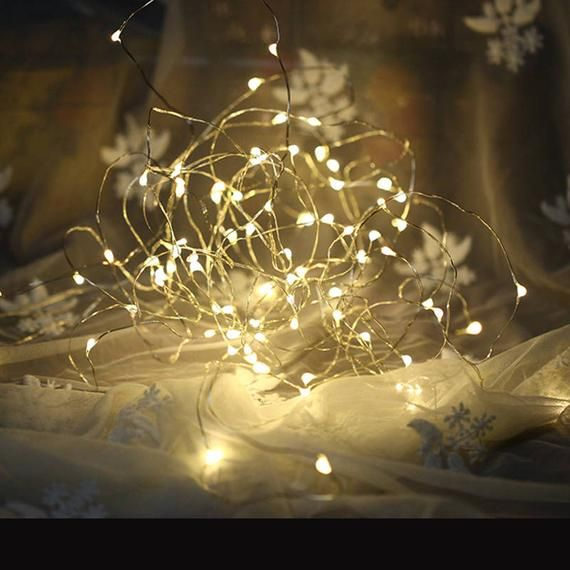 30 LED Silver Copper Lights Battery Operated Fairy String Lights, Centerpieces, Party Lights, Outdoor Wedding, Rustic Wedding, Room decor