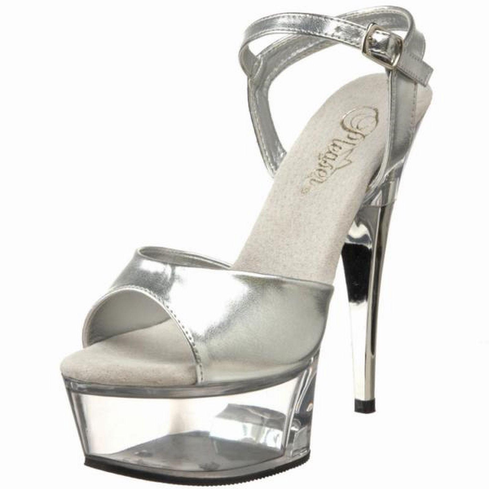 cb03cd1c43d Pleaser High Heel Silver Clear 6
