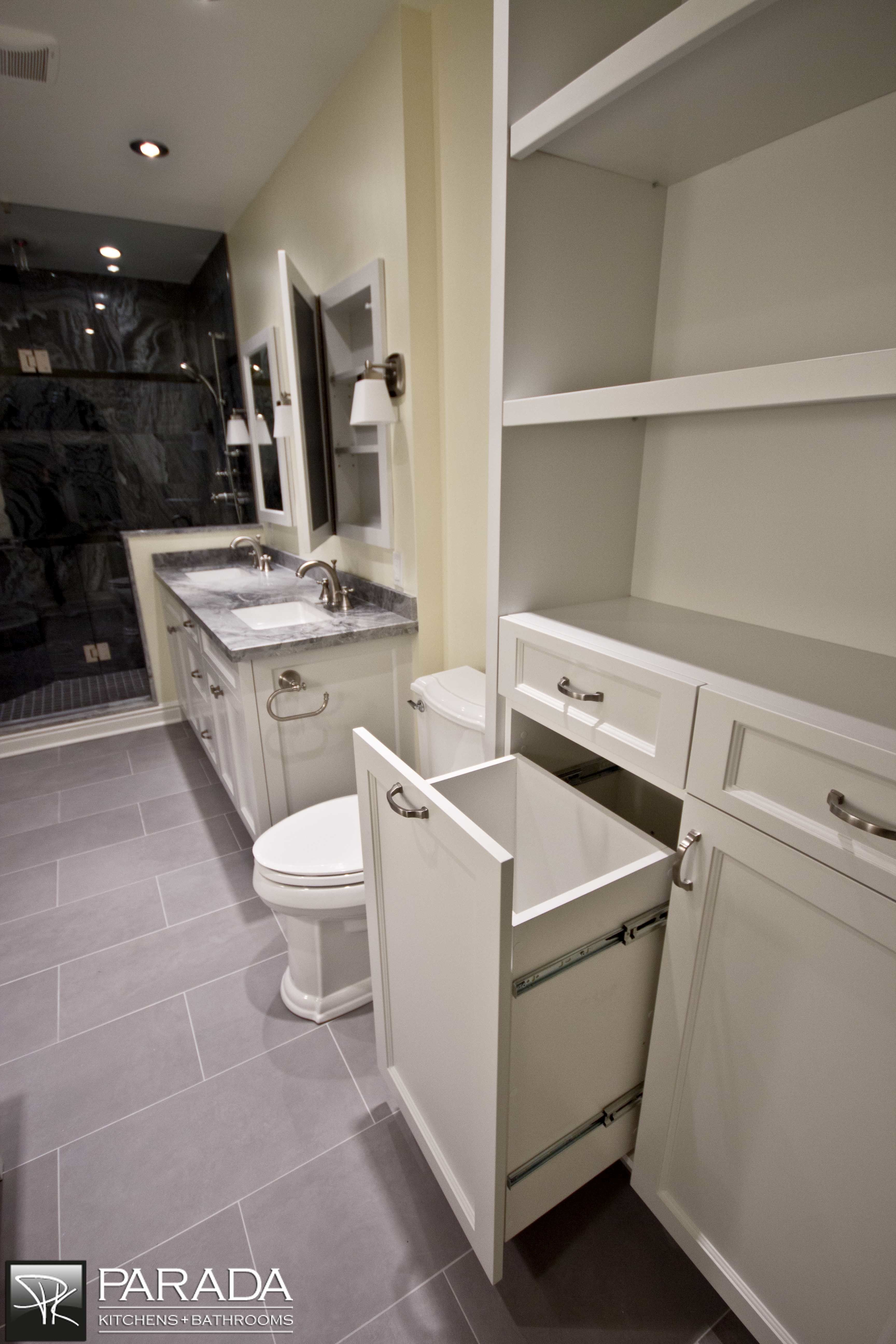 Bathroom cabinet with built in laundry hamper - Find This Pin And More On Master Bath Reno Built In Laundry Hamper
