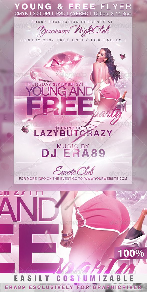 Young And Free Party Nightclub Flyer Fonts Logos Icons Pinterest