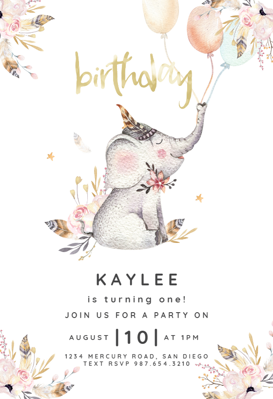 Lovely Elephant Invitation Template Customize Add Text And Photos