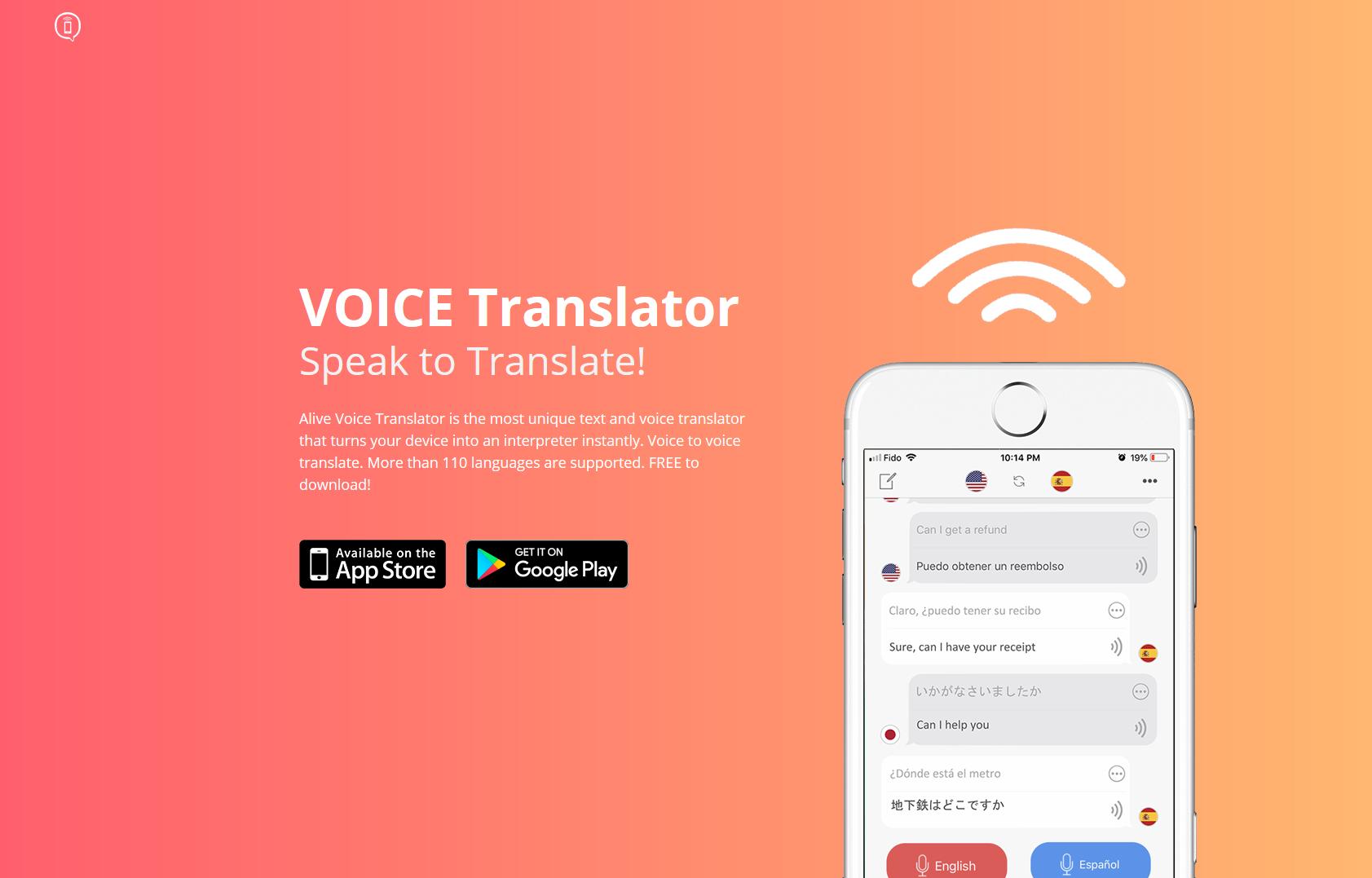Web design for Alive Voice Translator App store google
