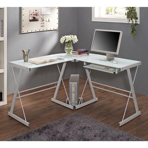 White L Shaped Corner Computer Desk Corner Computer Desk White Desk Office Glass Computer Desks