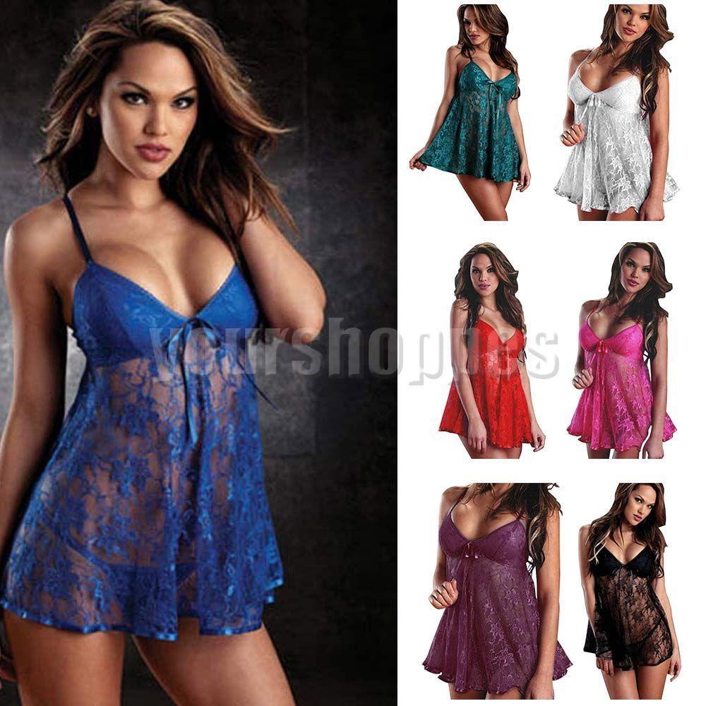 Women Sexy Lingerie lace Dress Babydoll Sleepwear Nightwear Underwear G-string…