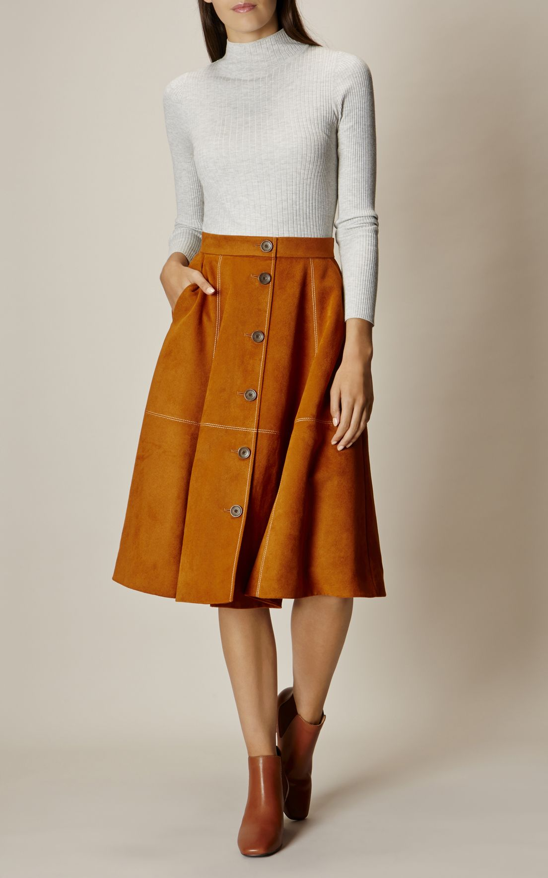 fe6f8eda6 Karen Millen, BUTTON-FRONT FAUX-SUEDE SKIRT Tan | Sewing in 2019 ...