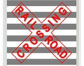Train Railroad Sign Art Print - Nursery Boy Room Red Gray Stripes Wall Art Home Decor #graystripedwalls Train Railroad Sign Art Print - Nursery Boy Room Red Gray Stripes Wall Art Home Decor 8x10 print. $15.00, via Etsy. #graystripedwalls