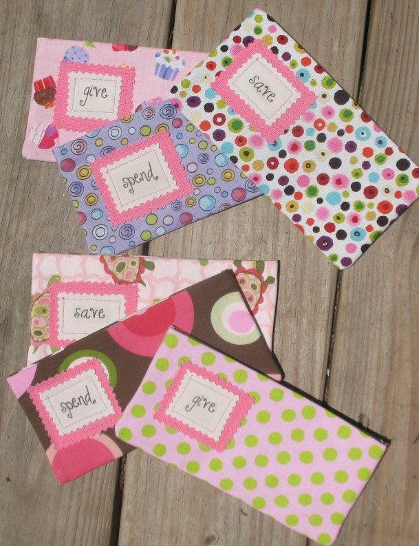 GiVe  SaVe  SpEnD -  Basic Saving Plan for Children - THREE Designer Envelopes with Velcro. $15.97, via Etsy.