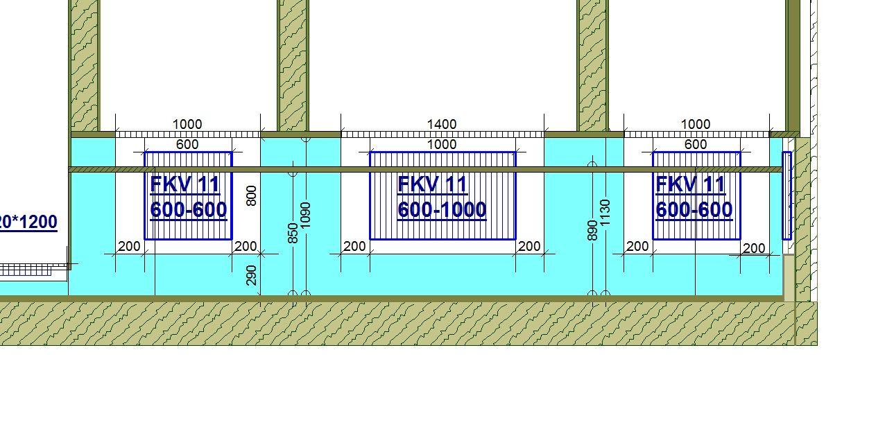 440. Кухня - схема монтажа радиаторов в осях 3-6