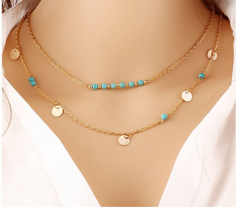 Boho Body Chain Necklaces Simple Multilayer Gold Coin Stone Bead Double  Chain Necklace for Women Collares