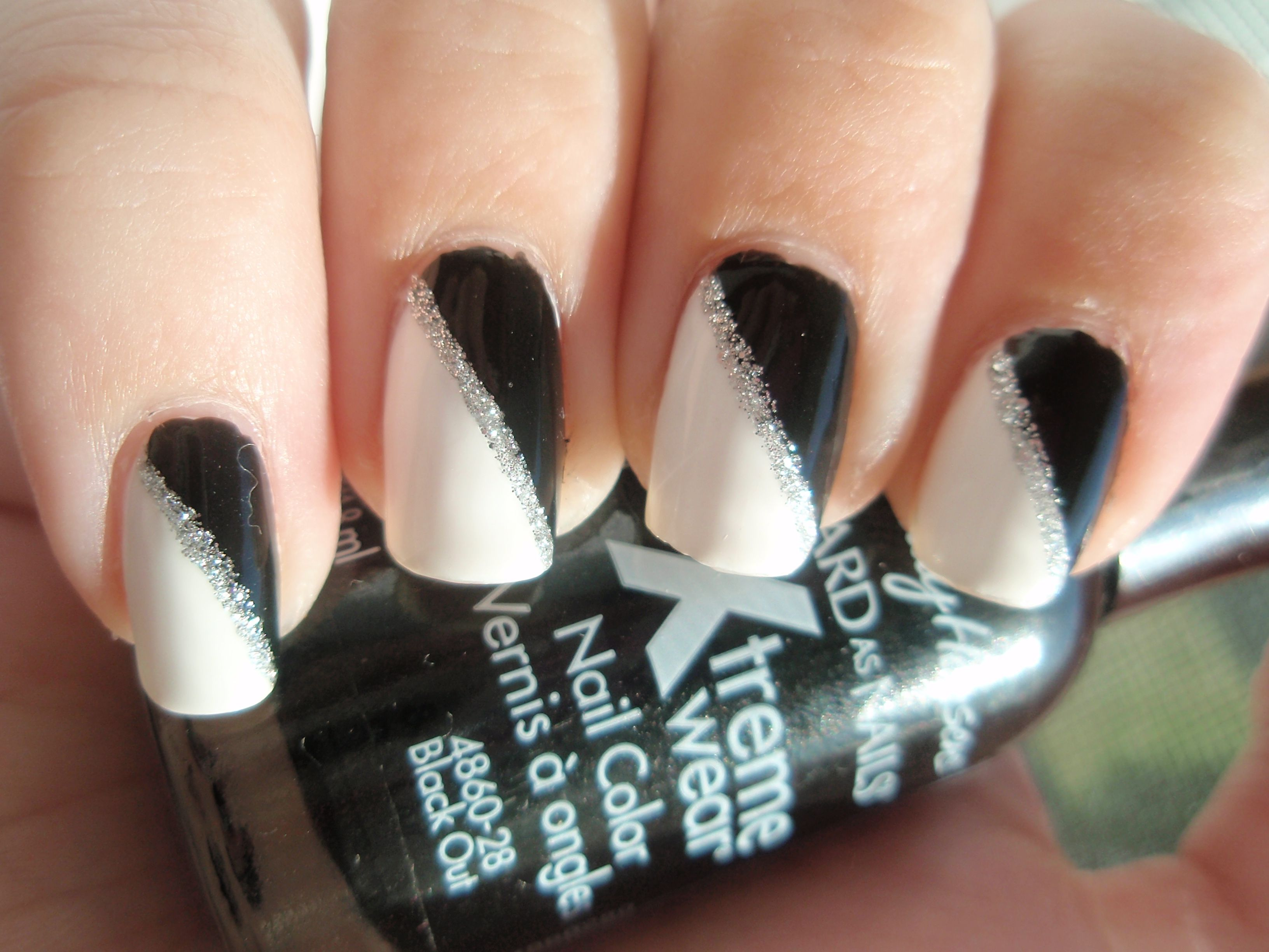 black and red nail designs |  white sally hansen x-treme wear