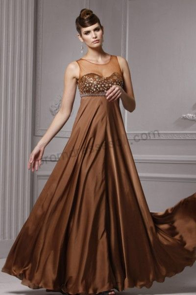 Golden Brown Sleeveless Sweetheart Elastic silk satin Formal ...
