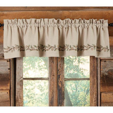Pinecones Embroidered Valance Rustic Curtains Kitchen Curtains Curtains Living Room