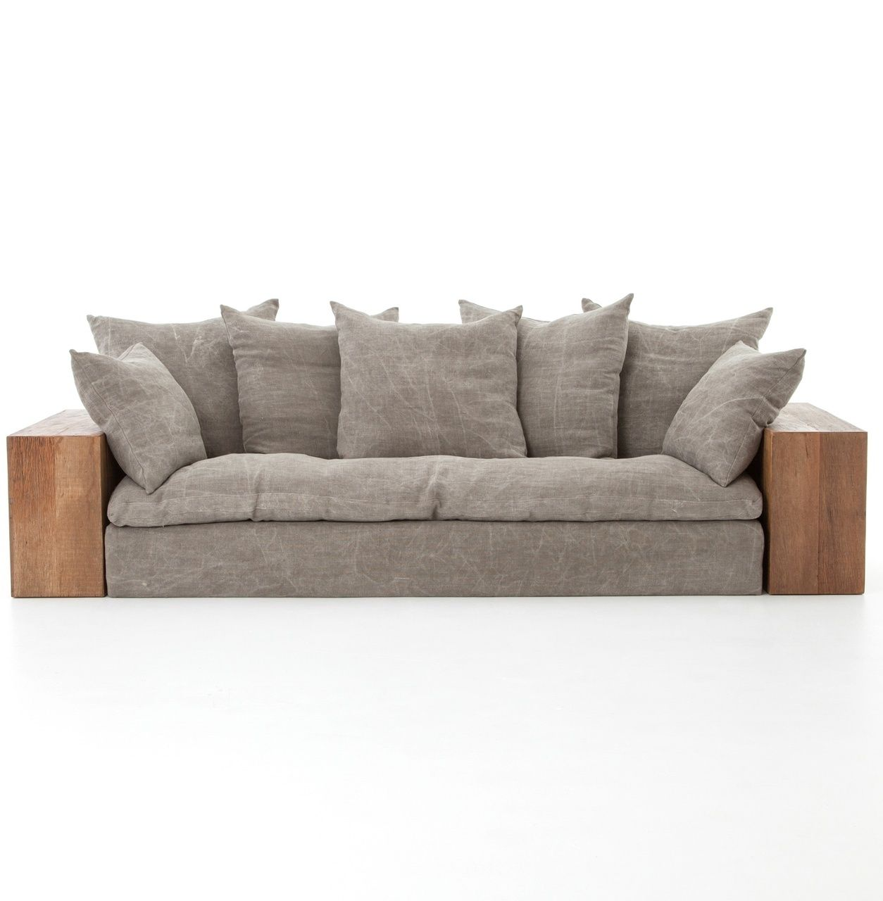 Dorset Industrial Loft Taupe Jute Sofa With Wood Arms Wooden