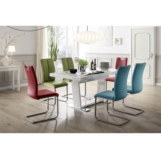 Manhattan Glass Dining Table In High Gloss With 6 Paulo Chairs