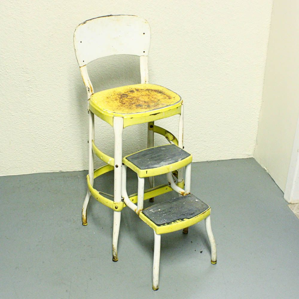 Vintage stool - step stool - kitchen stool - Cosco - chair - pull-out steps - Yellow - metal - white : vintage metal stool - islam-shia.org